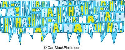 bolla discorso, gruppo, risata