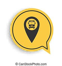 bolla, discorso, mappa, isolato, fondo., nero, simbolo., puntatore, giallo, vettore, bianco, autobus, icona