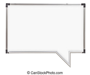 bolla discorso, whiteboard, isolato, bianco