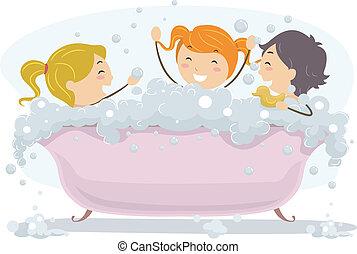bolla, giorno, bagno