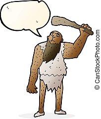 bolla, neanderthal, discorso, cartone animato