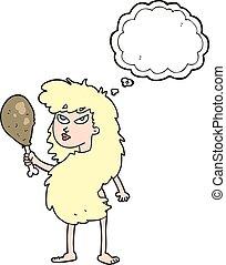 bolla pensiero, carne, cavewoman, cartone animato