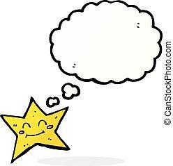 bolla pensiero, stella, cartone animato, carattere