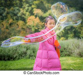 bolla, ragazza, gioco, asiatico