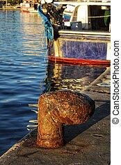 Bollar in the port of Santa Pola, Spain