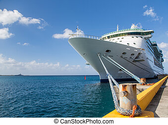 Luxury Cruise Ship Anchored Under Nice Skies at Harbor on St Croix