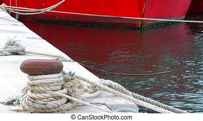 Bollard in Dock and Sea
