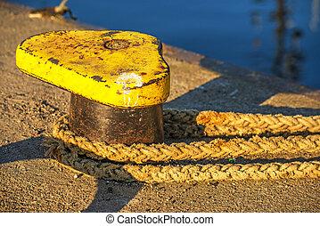 bollard with mooring line