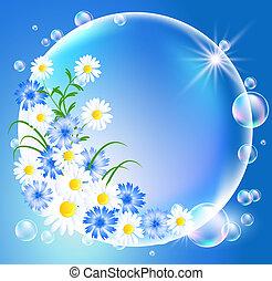 bolle, con, fiori