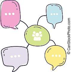 bolle, dialogo, illustrazione, linea, discorso, comunità, icone, stile, colorito, vettore, discorso