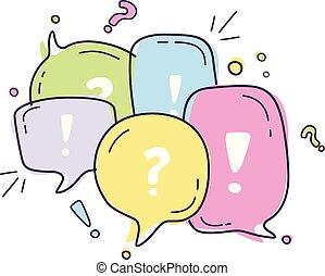 bolle, dialogo, illustrazione, linea, discorso, icone, stile, colorito, vettore, discorso