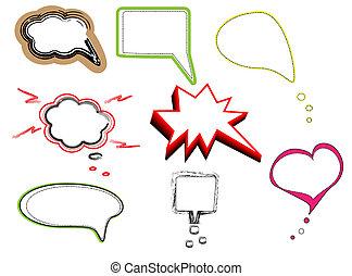 bolle, discorso, colorito, dialogo