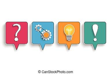 bolle, discorso, concetto, pianificazione