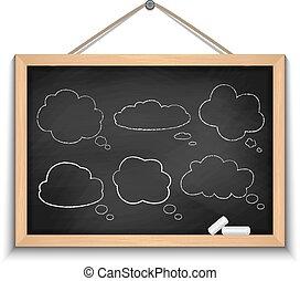 bolle, discorso, lavagna, nuvola