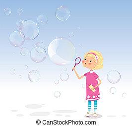 bolle, ragazza, sapone