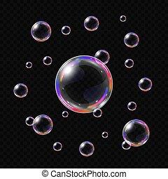 bolle, realistico, isolato, sapone