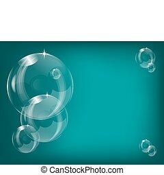 bolle, sapone, illustrazione, trasparente, fondo, vettore