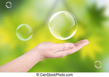 bolle sapone, su, uno, palma