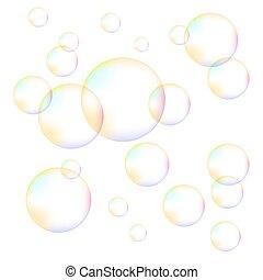 bolle, schiuma, trasparente, colorito