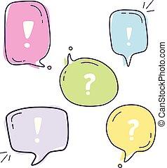 bolle, set, illustrazione, dialogo, discorso, colorito, vettore