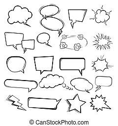 bolle, stile, set, manifesto, aviatore, illustrazioni, fondo., elementi, discorso, websites., disegno, comico, bianco