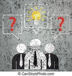 bolle, uomini affari, 3, domande, discorso, soluzione