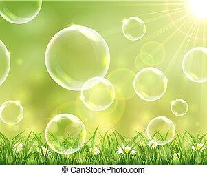 bolle, volare, soleggiato, fondo