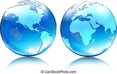 bollen, aarde, glanzend, kaart