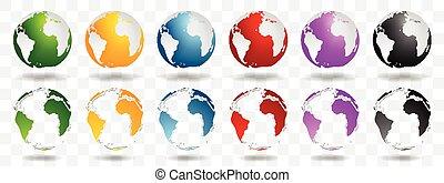 bollen, aarde, helder, vector, ontwerp