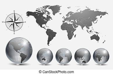 bollen, met, wereldkaart