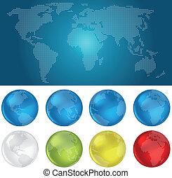 bollen, wereld, dotted, kaart