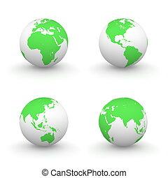 bollen, witte , groene, 3d