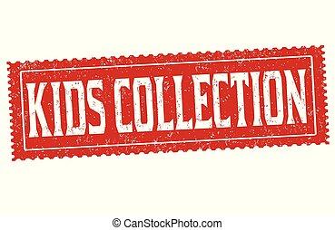 bollo gomma, bambini, grunge, collezione
