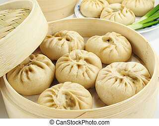 bollos, cocido al vapor, chino