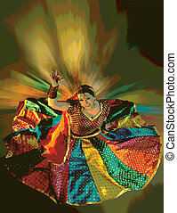 Bollywood Dancer in Dress - Dancer with colorful dress...