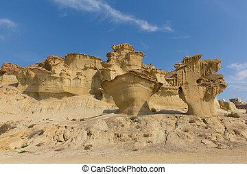 Bolnuevo sandstone rock erosions tourist attraction near...
