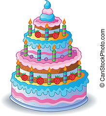 bolo, 1, decorado, aniversário