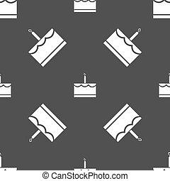 bolo aniversário, ícone, sinal., seamless, padrão, ligado, um, cinzento, experiência., vetorial