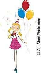 bolo, aniversário, balões