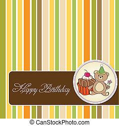bolo, aniversário, cartão cumprimento