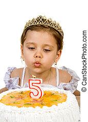 bolo aniversário, celebrando, cinco, anos