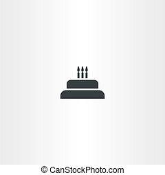 bolo aniversário, com, velas, ícone, vetorial
