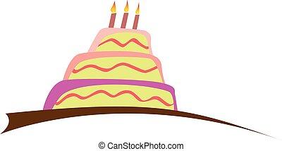 bolo aniversário, com, velas