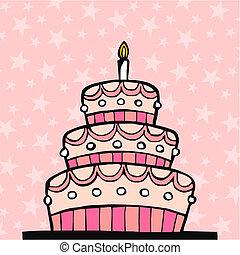 bolo aniversário, cor-de-rosa