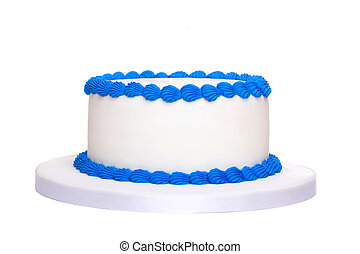 bolo, aniversário, em branco