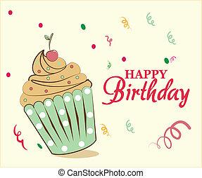 bolo, aniversário, feliz