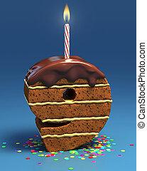 bolo, aniversário, nove, número, dado forma