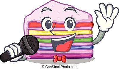 bolo, arco íris, forma, cantando, caricatura