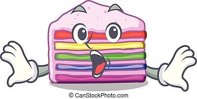 bolo, arco íris, forma, caricatura, surpreendido