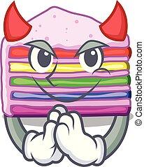 bolo, arco íris, forma, diabo, caricatura